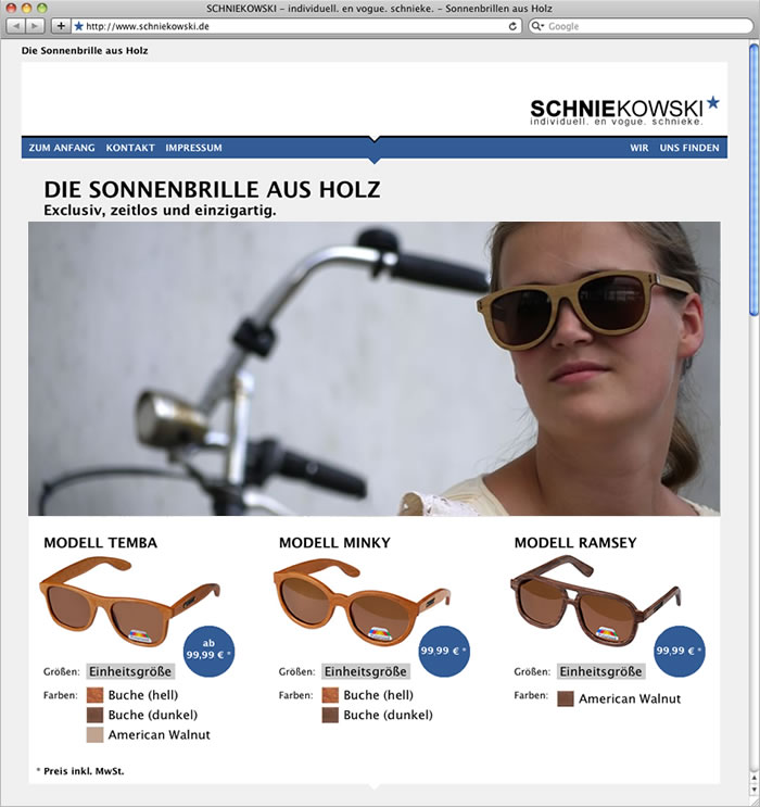 Screenshot von Website schniekowski.de